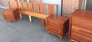 ON HOLD***REFINISHED MCM  walnut dresser 9 drawers, tallboy, 2 nigh stands, headboard for queen bed & frame - PERFECT - Mid Century Modern Toronto