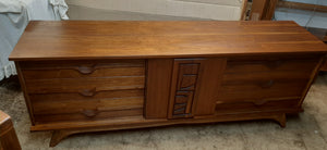 "REFINISHED MCM Walnut Brutalist Walnut Dresser Credenza 80"" PERFECT"