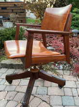 Load image into Gallery viewer, REFINISHED REUPHOLSTERED MCM walnut desk chair adjustable by Krug, Perfect
