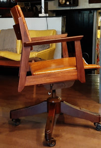 REFINISHED REUPHOLSTERED MCM walnut desk chair adjustable by Krug, Perfect
