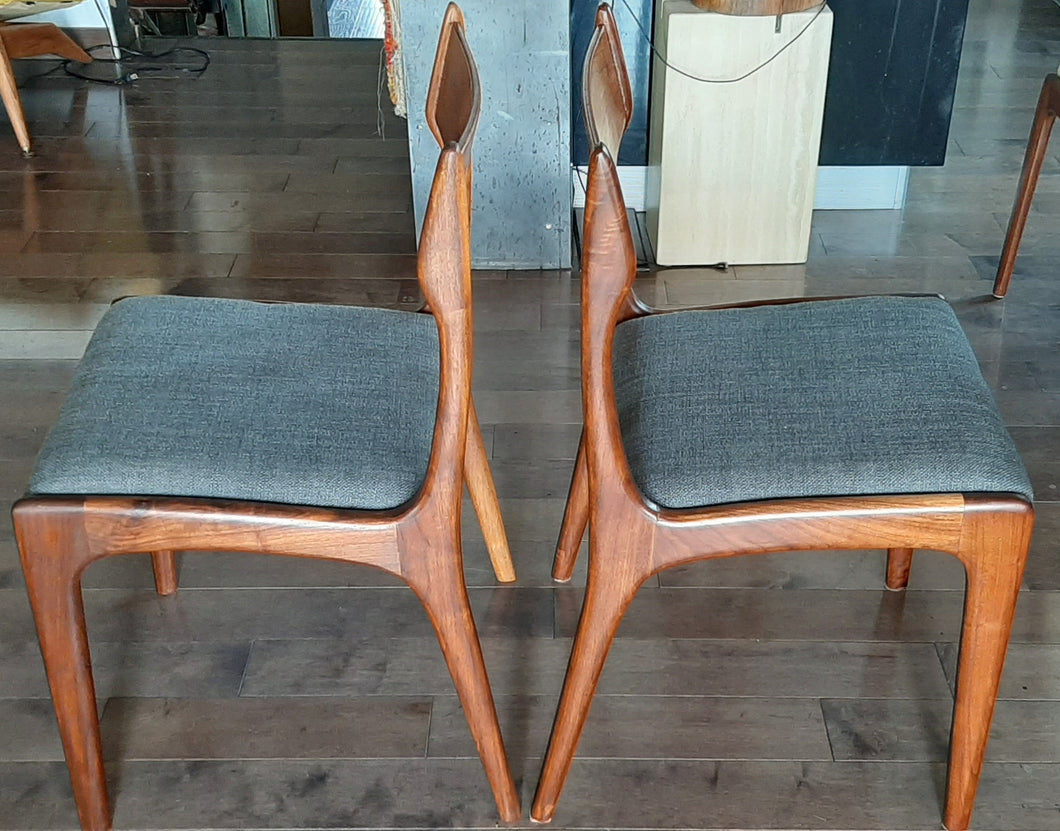 6 MCM Teak Chairs REFINISHED, ready for new upholstery, each $295