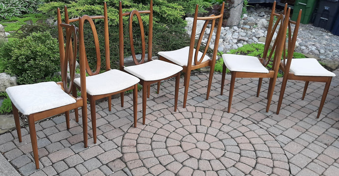 on hold***Fabulous set of 6 Mid Century Modern Walnut Chairs by Honderich, RESTORED, each $199 only