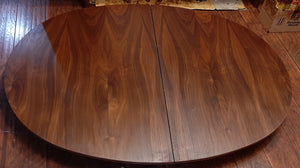 "REFINISHED MCM Walnut Dining Table Oval w 2 leaves, 57""- 81"" PERFECT"