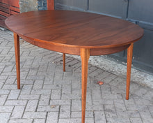 "Load image into Gallery viewer, REFINISHED MCM Walnut Dining Table Oval w 2 leaves, 57""- 81"" PERFECT"
