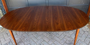 "REFINISHED MCM Walnut Dining Table Oval w 2 leaves, 57""- 92"" PERFECT"