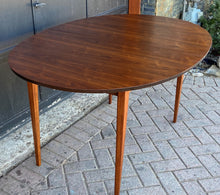 "Load image into Gallery viewer, REFINISHED MCM Walnut Dining Table Oval w 2 leaves, 57""- 92"" PERFECT"