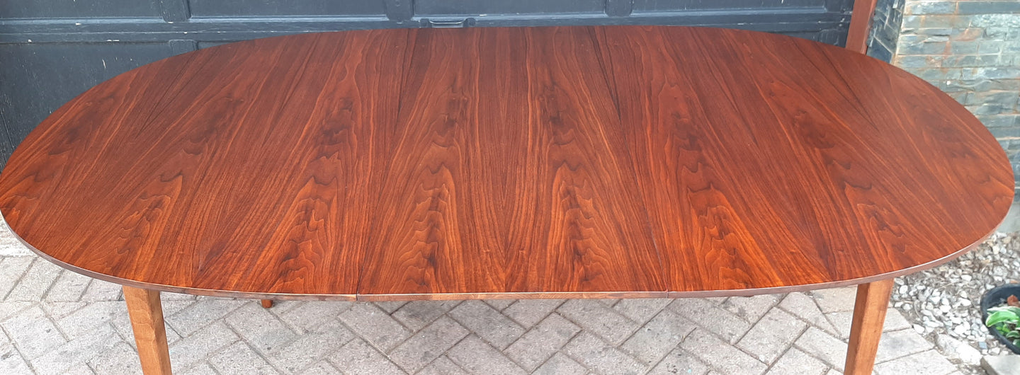 REFINISHED MCM Walnut Dining Table Oval w 1 leaf, 57
