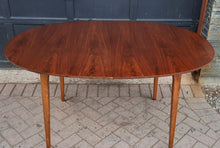 "Load image into Gallery viewer, on hold***REFINISHED MCM Walnut Dining Table Oval w 1 leaf, 57""- 75"" PERFECT"