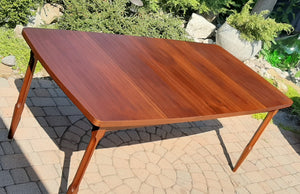 "REFINISHED MCM Walnut Dining Table w 1 Leaf 54"" -72"""
