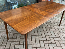 "Load image into Gallery viewer, REFINISHED MCM Walnut Dining Table Extendable w 2 leaves 57""- 77.5"""