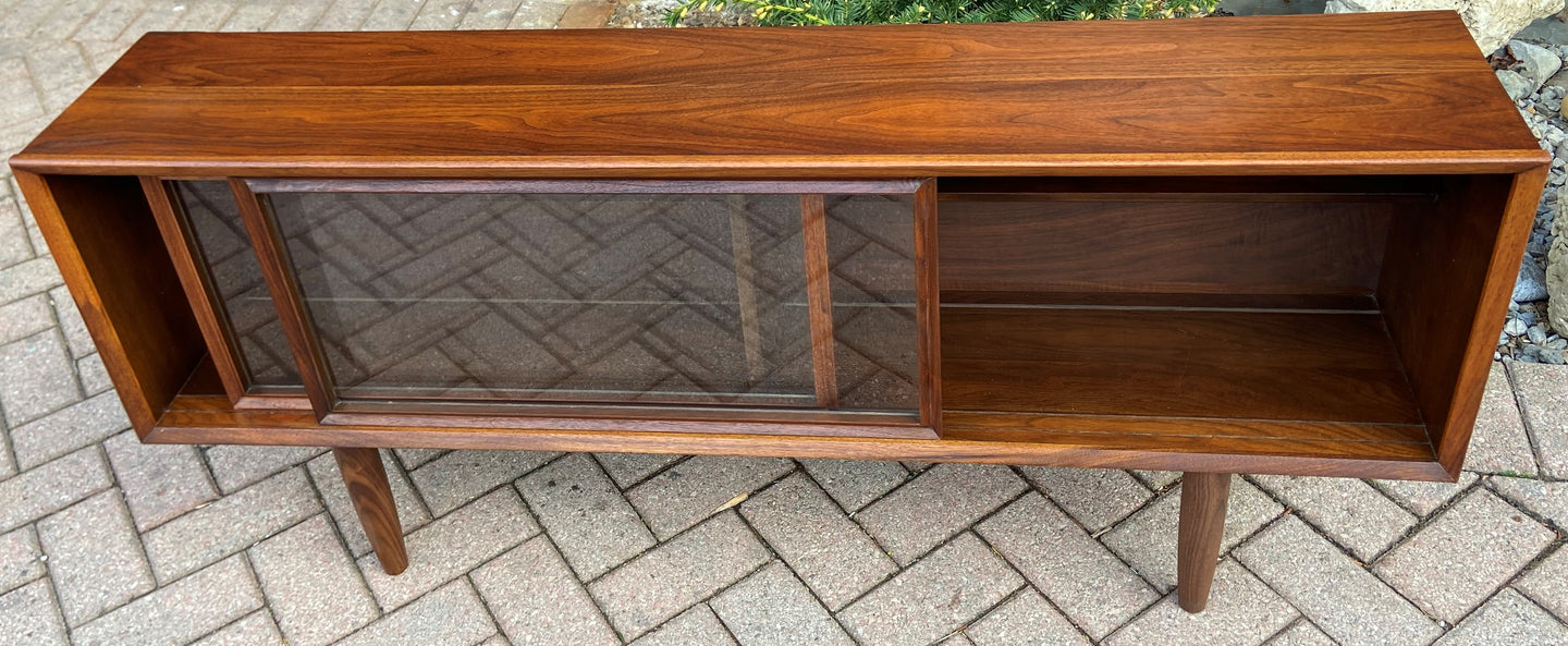 REFINISHED MCM Walnut Bookcase Display Media Console 56.5