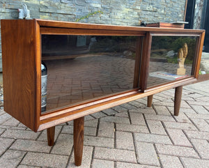 "REFINISHED MCM Walnut Bookcase Display Media Console 56.5"", Perfect"