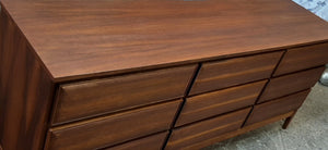 REFINISHED MCM Walnut Dresser 3-Dimensional Front 6ft by HPL Mobilier, PERFECT - Mid Century Modern Toronto