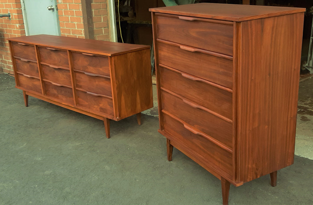 ON HOLD***REFINISHED MCM Walnut Bedroom Set of a Dresser 9 Drawers and a Tallboy, PERFECT - Mid Century Modern Toronto