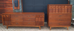 REFINISHED MCM Walnut Set of Dresser 9 drawers and Tallboy, PERFECT