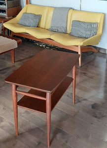 REFINISHED MCM Walnut End Table with Shelf, PERFECT
