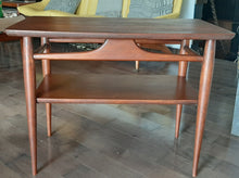 Load image into Gallery viewer, REFINISHED MCM Walnut End Table with Shelf, PERFECT