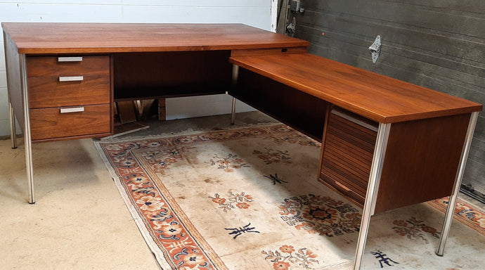 REFINISHED Iconic MCM Executive Walnut Desk L- Shaped by Jacques Guilion PERFECT - Mid Century Modern Toronto