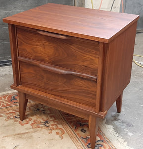REFINISHED MCM Walnut Nightstand w 2 drawers, PERFECT, only one available - Mid Century Modern Toronto