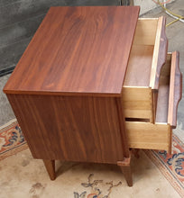 Load image into Gallery viewer, REFINISHED MCM Walnut Nightstand w 2 drawers, PERFECT, only one available - Mid Century Modern Toronto