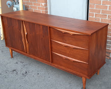 "Load image into Gallery viewer, REFINISHED MCM Walnut Buffet Sideboard 66"", Perfect"
