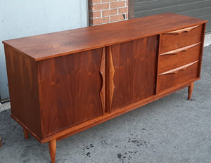 "REFINISHED MCM Walnut Buffet Sideboard 66"", Perfect"