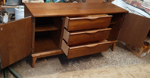 REFINISHED MCM Walnut Buffet Sideboard 5 ft Perfect