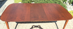 "REFINISHED MCM Walnut Dining Table w Butterfly Leaf Rounded 56"" -72"""
