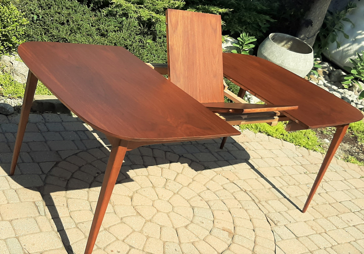 REFINISHED MCM Walnut Dining Table w Butterfly Leaf Rounded 56