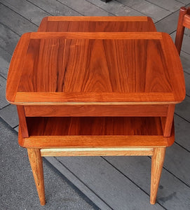 REFINISHED MCM Walnut Two Tier End Table with Drawer by Lane Altavista, PERFECT