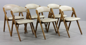5 MCM Coronet Chairs REFINISHED REUPHOLSTERED, perfect. They FOLD - Mid Century Modern Toronto