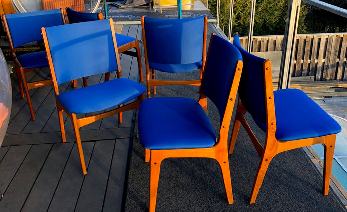4 MCM Teak Chairs by Johannes Andersen RESTORED REUPHOLSTERED in Maharam fabric, each $225 - Mid Century Modern Toronto