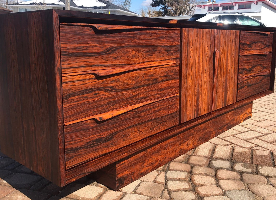 REFINISHED MCM Rosewood Sideboard Credenza or Dresser 7ft perfect - Mid Century Modern Toronto
