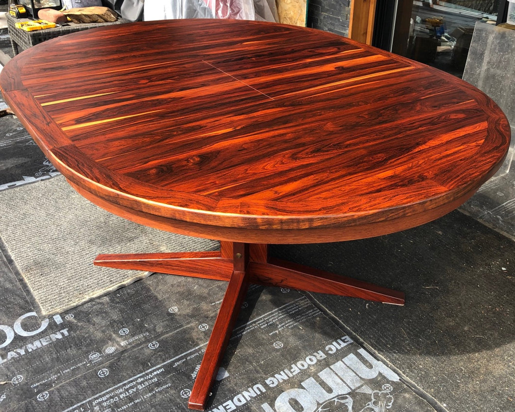 REFINISHED MCM Rosewood Table Round to Oval by Troeds 48