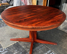 "Load image into Gallery viewer, REFINISHED MCM Rosewood Table Round to Oval by Troeds 48""-61"" PERFECT, treated for durability - Mid Century Modern Toronto"