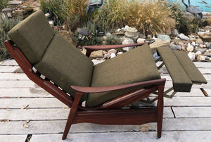 REFINISHED REUPHOLSTERED Solid Teak MCM High Back Lounge Chair Reclining, perfect - Mid Century Modern Toronto