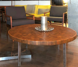 "REFINISHED MCM  Solid Teak Mosaic Coffee Table Chrome legs D 40"", perfect - Mid Century Modern Toronto"