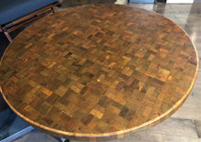 "Load image into Gallery viewer, REFINISHED MCM  Solid Teak Mosaic Coffee Table Chrome legs D 40"", perfect - Mid Century Modern Toronto"