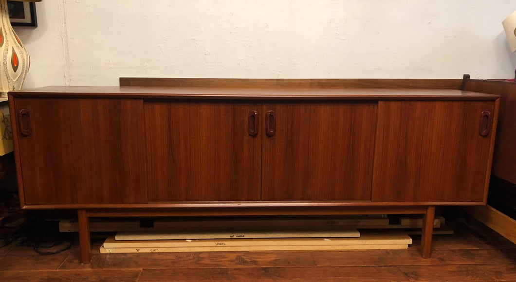 NOT AVAILABLE*****REFINISHED MCM Teak Credenza w 4 sliding doors 86