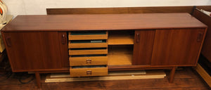 "NOT AVAILABLE*****REFINISHED MCM Teak Credenza w 4 sliding doors 86"" - Mid Century Modern Toronto"