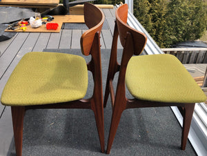 4 MCM Teak Chairs by Punch Design RESTORED, PERFECT, includes custom UPHOLSTERY, each $275 - Mid Century Modern Toronto