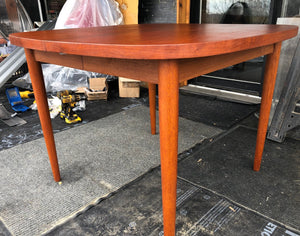 "REFINISHED MCM  Teak Table Rounded w 1 Leaf 40""-58"", perfect - Mid Century Modern Toronto"