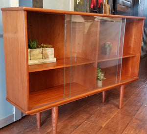"REFINISHED MCM Teak Bookcase Display 48.75"", perfect - Mid Century Modern Toronto"