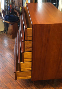 REFINISHED MCM Teak 9 Drawers Dresser, Tallboy, Headboard with nightstands and metal bed frame Queen- PERFECT - Mid Century Modern Toronto