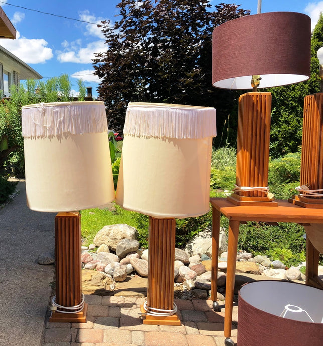A pair of large Mid Century Modern Teak sculptural lamps (2 pairs available) - Mid Century Modern Toronto