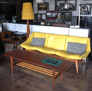 "REFINISHED Danish MCM teak coffee table with tile inlay 59"" A.H. Olsen style - Mid Century Modern Toronto"