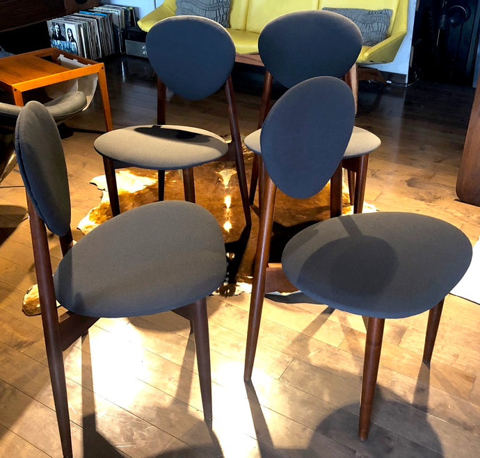 4 REUPHOLSTERED MCM Teak Chairs, dark grey Maharam, each $175 only - Mid Century Modern Toronto