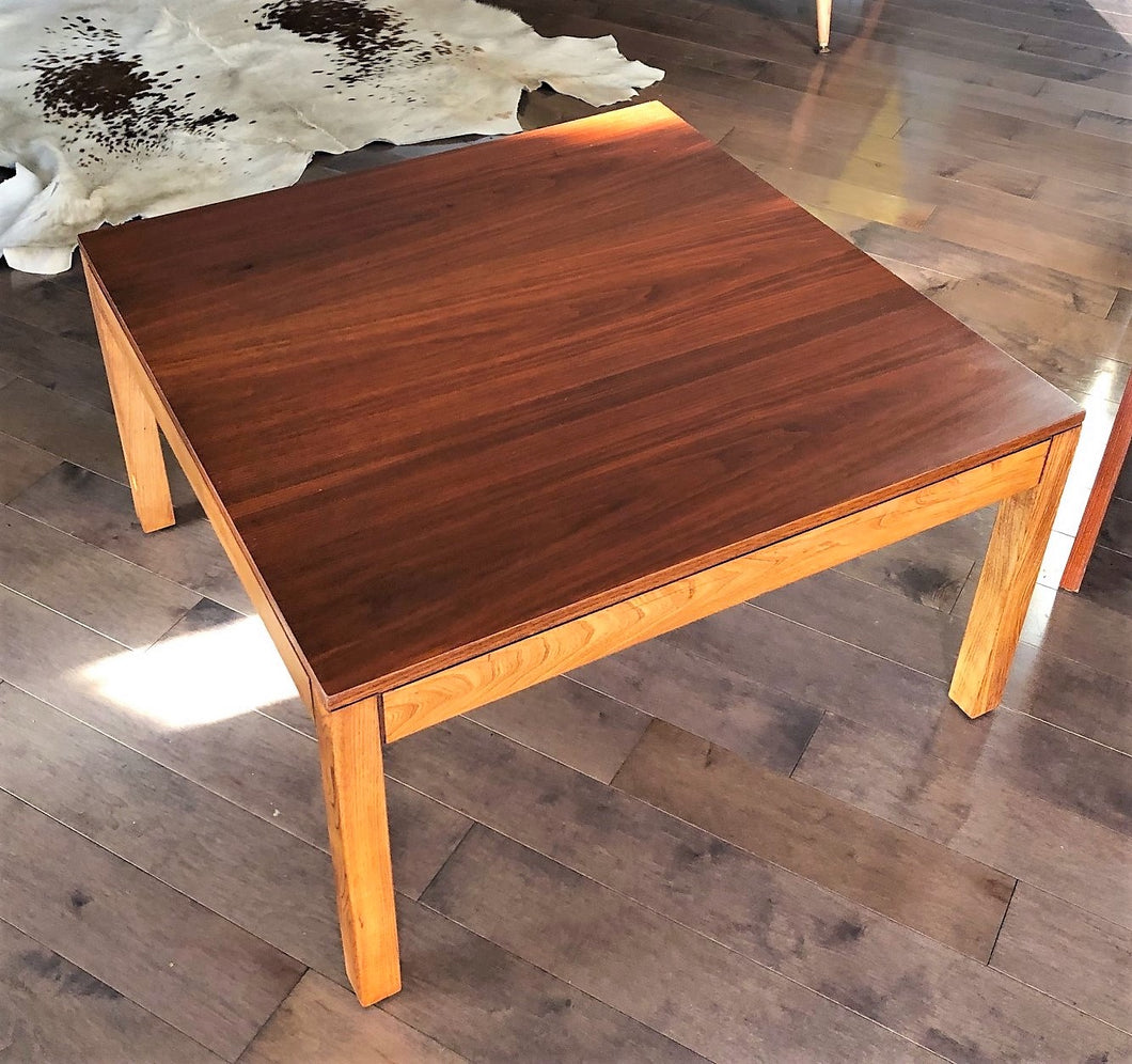 REFINISHED MCM Walnut & Ash Accent or Coffee Table large, square 30