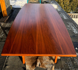 ON HOLD ****REFINISHED MCM Walnut dining or boardroom table boat shaped by Jens Risom 8ft, PERFECT, treated for durability - Mid Century Modern Toronto
