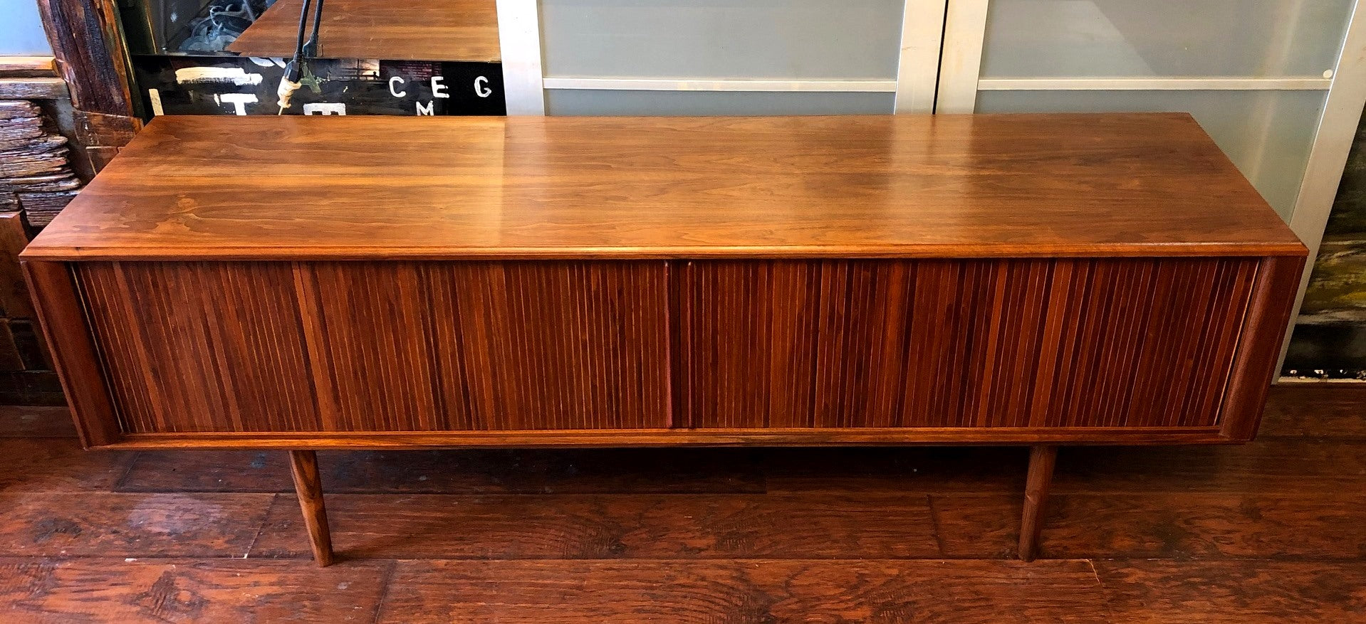 Not Available Refinished Mcm Walnut Tv Records Console